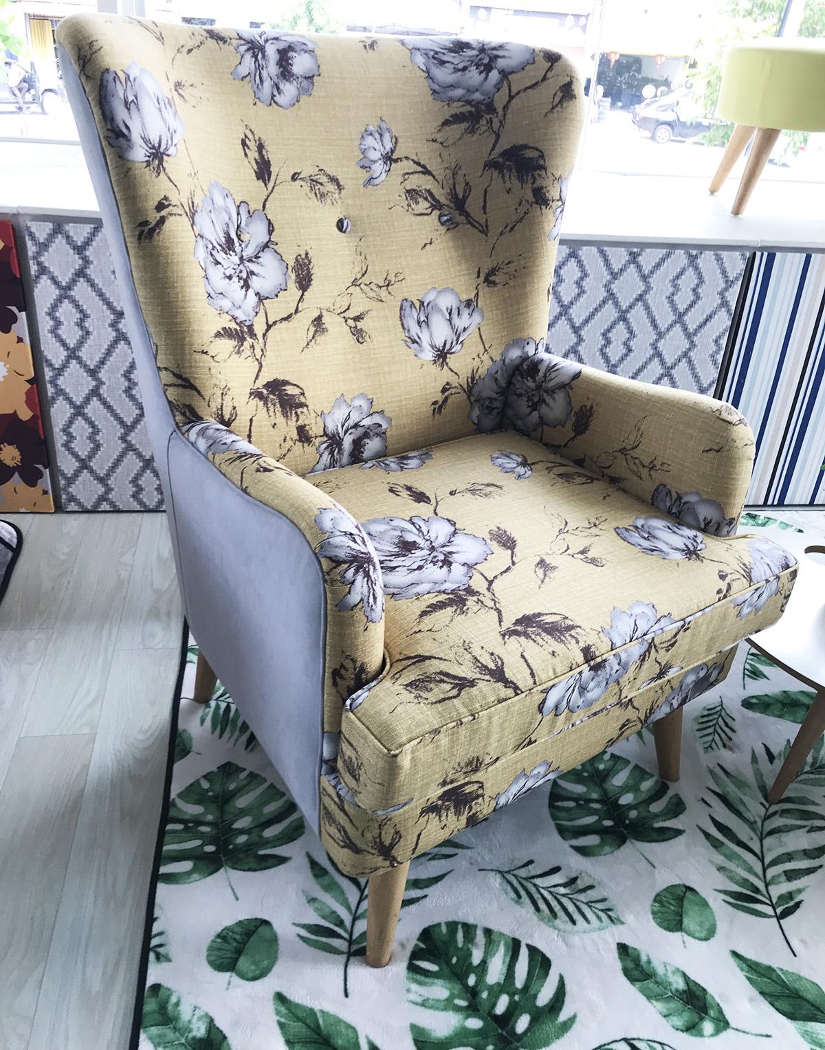 Sanderson high back armchair