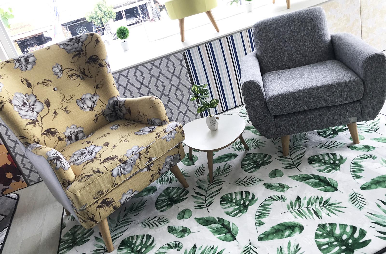 Jana mid-century modern armchair and Sanderson high back armchair